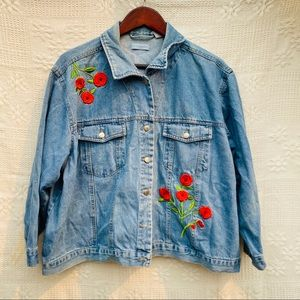 Vintage Red Rose Embroidered Jean Jacket Sz 2X